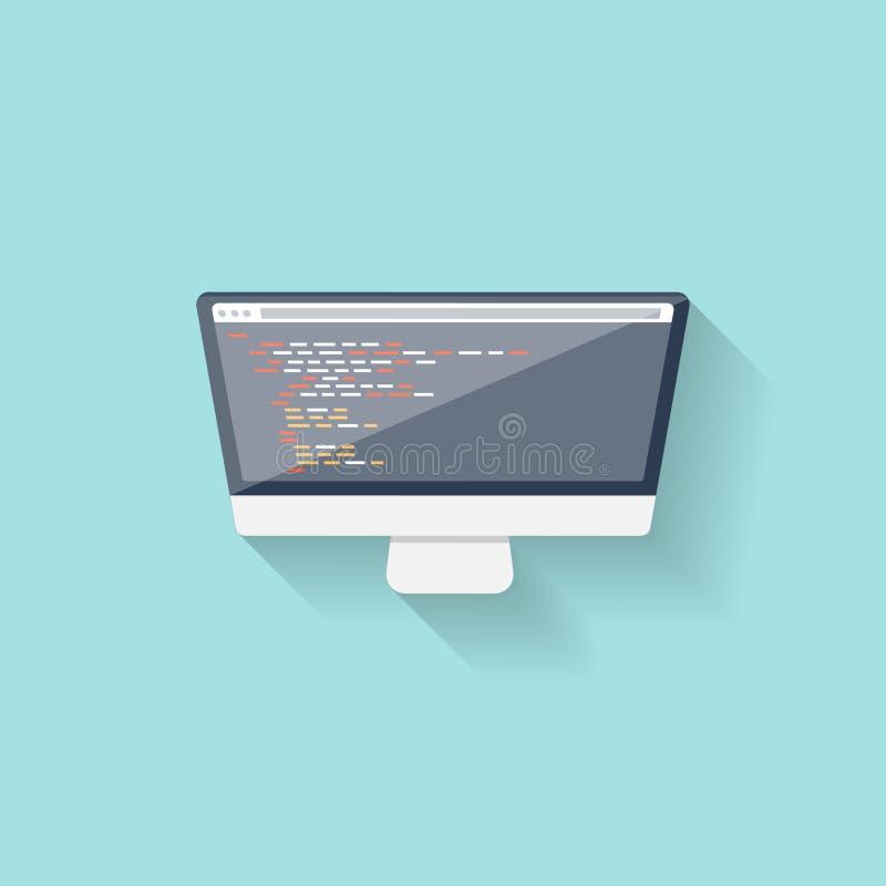 Online programmering en het coderen Vlakke stijl Webcursussen Het ontwerp van Internet ui App ontwikkeling royalty-vrije illustratie