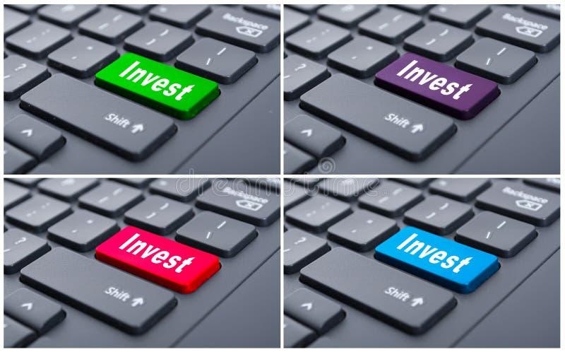 Online przychody z inwestują guzika obraz royalty free