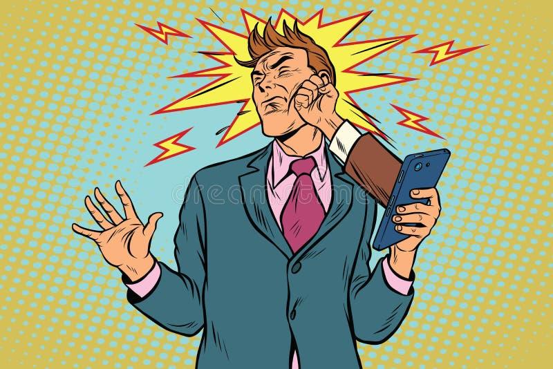 Online punch, fight the scandal feud businessmen stock illustration
