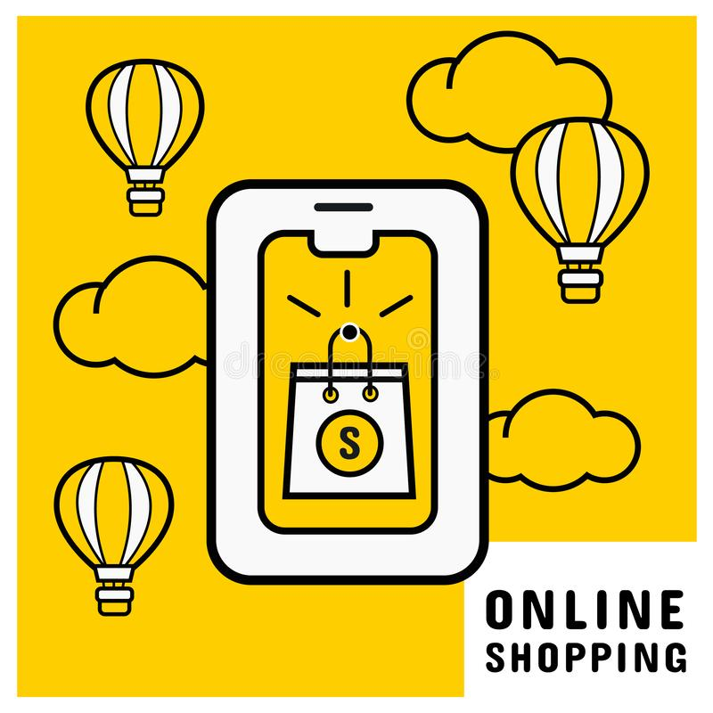 Online purchase on mobile with online shopping bag. Online shopping concept. Vector illustration vector illustration