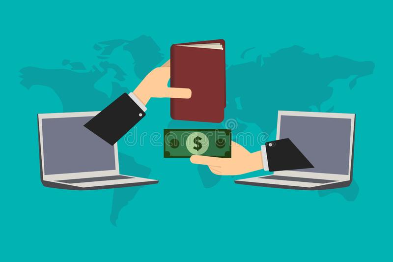 Online purchases, the user acquires a digital book when paying with a cash deposit stock illustration