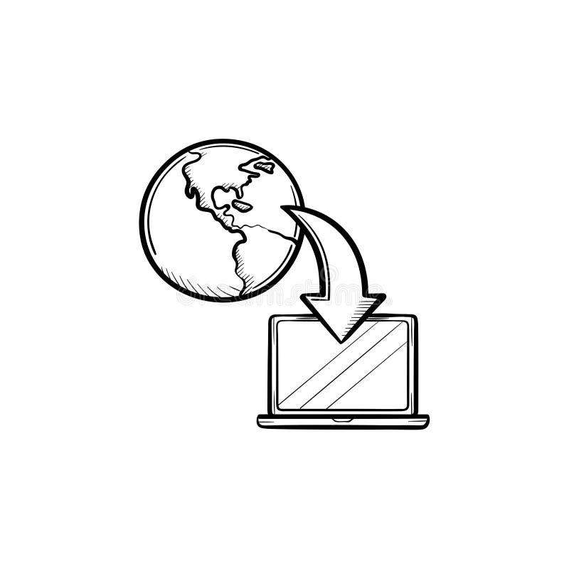 Online ręka rysująca edukaci nakreślenia ikona ilustracji