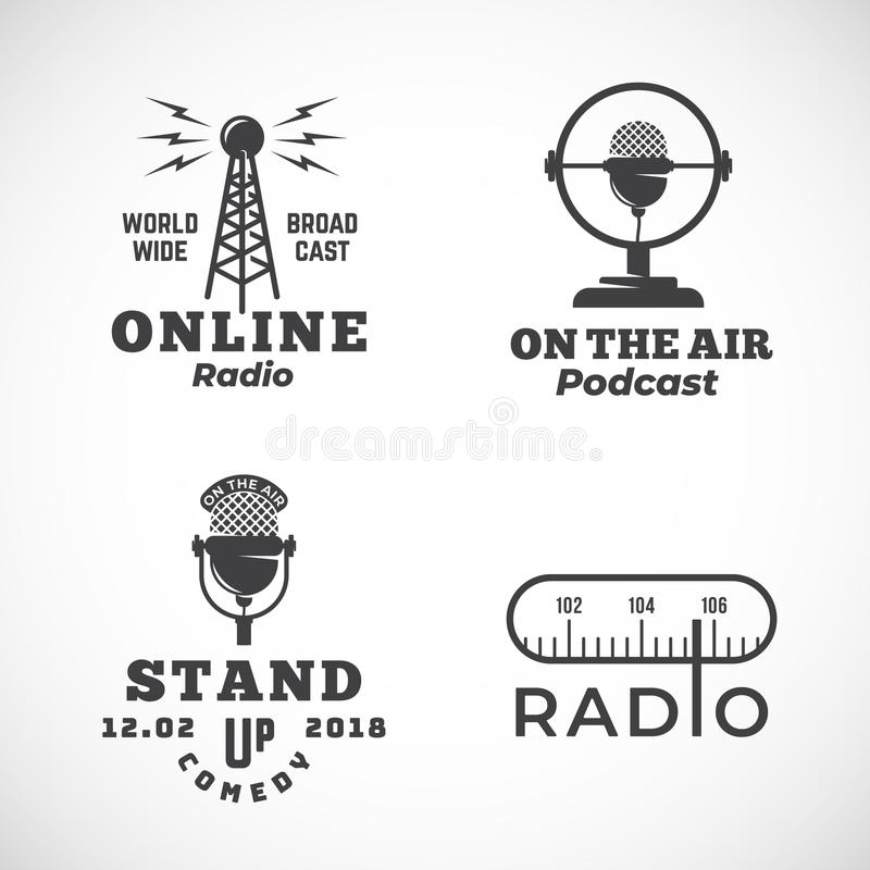 Online Radio and Microphone Abstract Vector Emblems Set. Broadcast Tower, Podcast or Stand Up Comedy Microphone Signs or. Logo Templates. Radio Scale and On the stock illustration