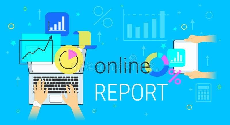 Online raport i księgowość na smartphone pojęcia wektoru kreatywnie ilustraci ilustracji
