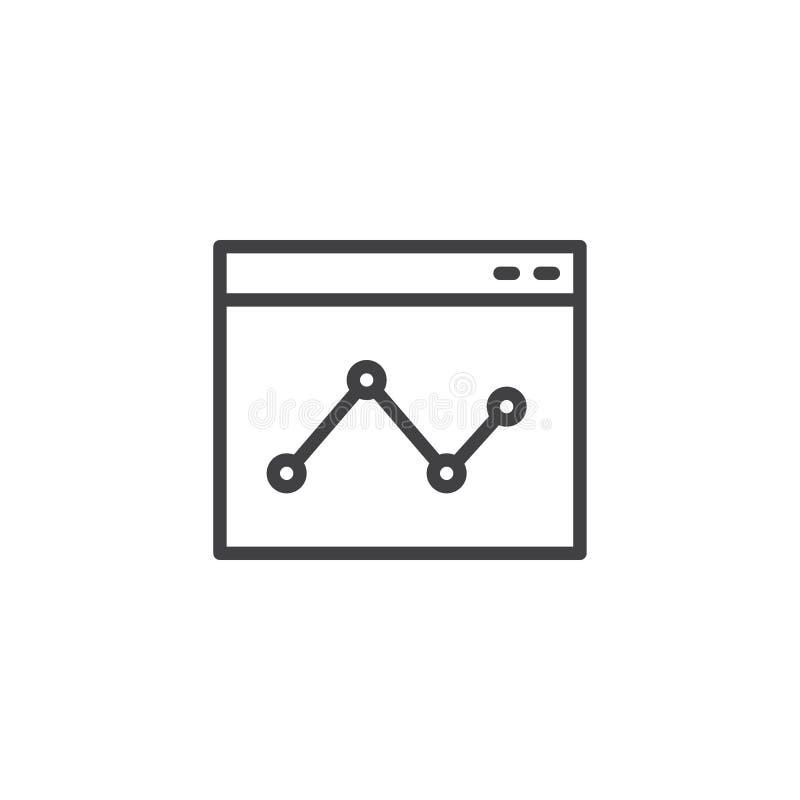 Online raportowa kontur ikona ilustracja wektor