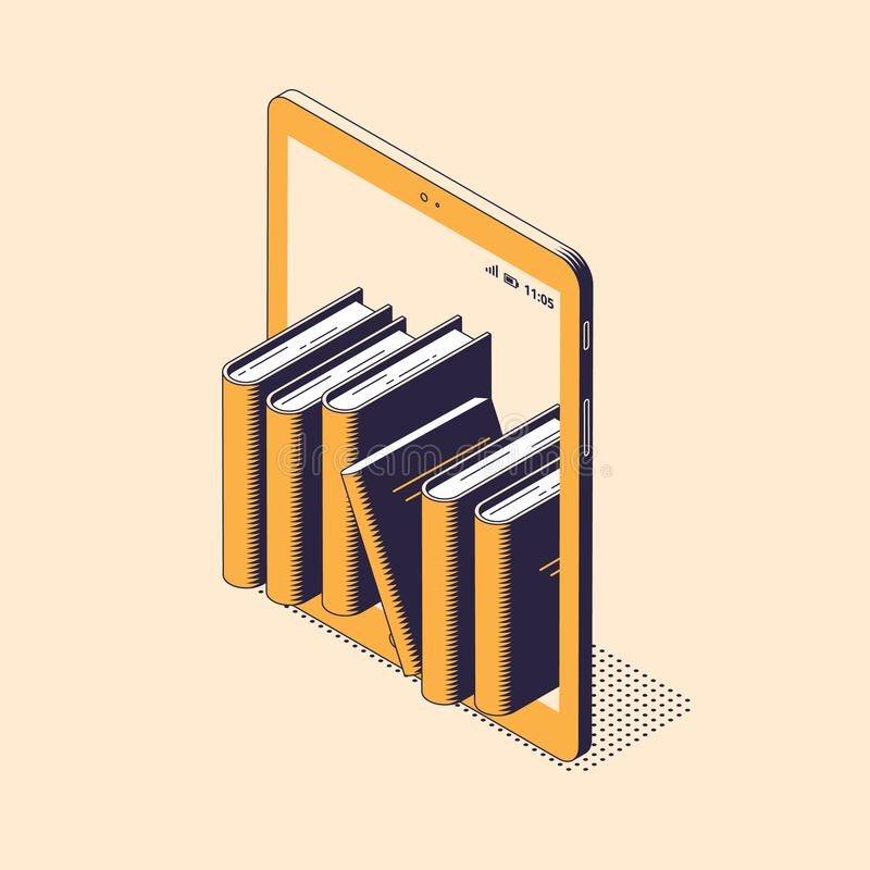 Online reading or education isometric vector illustration - stack of paper books standing inside of digital tablet. vector illustration