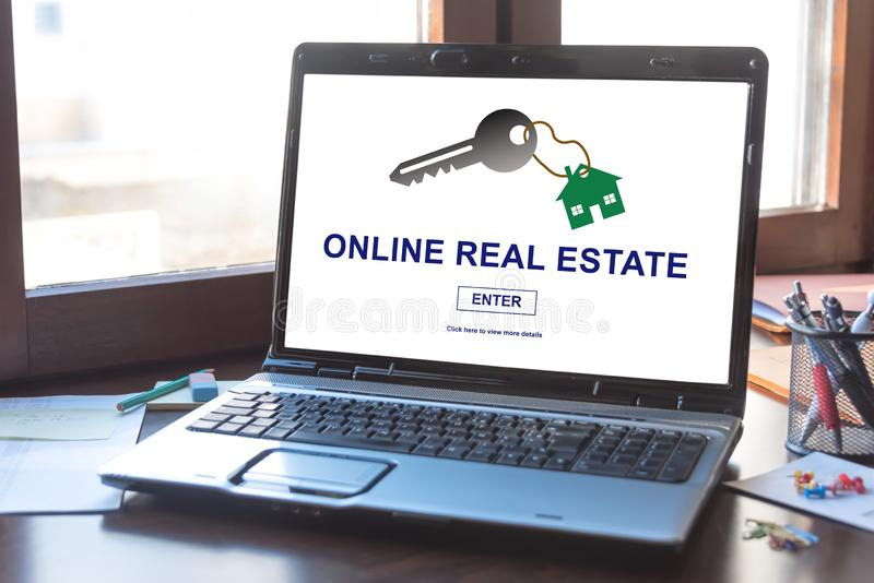 Online real estate concept on a laptop screen. Laptop screen displaying an online real estate concept royalty free stock image