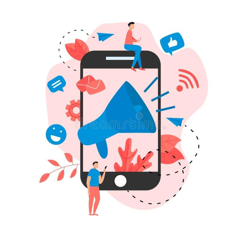 Online reclame voor bedrijven. Groot megafoon en bedrijfspictogram. Concept voor het op de markt brengen van reclame stock illustratie