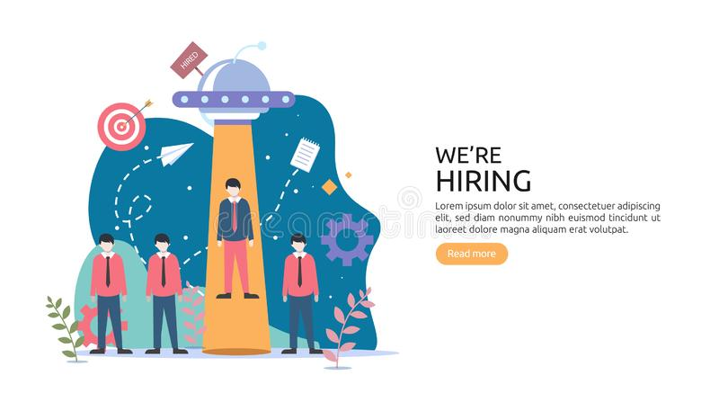 Online recruitment or Job hiring concept with tiny people character. select a resume process. agency interview. template for web. Landing page, banner vector illustration