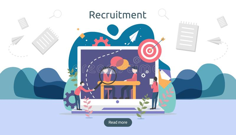 online recruitment or Job hiring concept with tiny people character. select a resume process. agency interview. template for web vector illustration