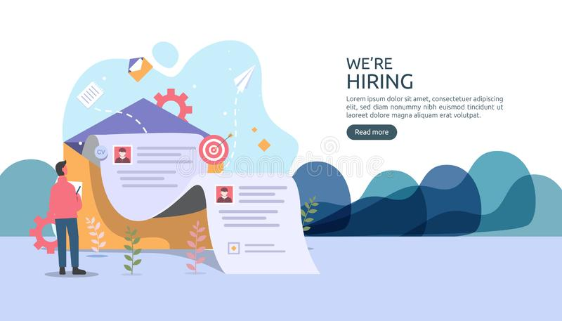 Online recruitment or Job hiring concept with tiny people character. select a resume process. agency interview. template for web. Landing page, banner royalty free illustration