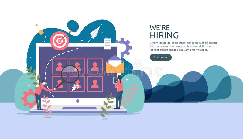 Online recruitment or Job hiring concept with tiny people character. select a resume process. agency interview. template for web. Landing page, banner stock illustration