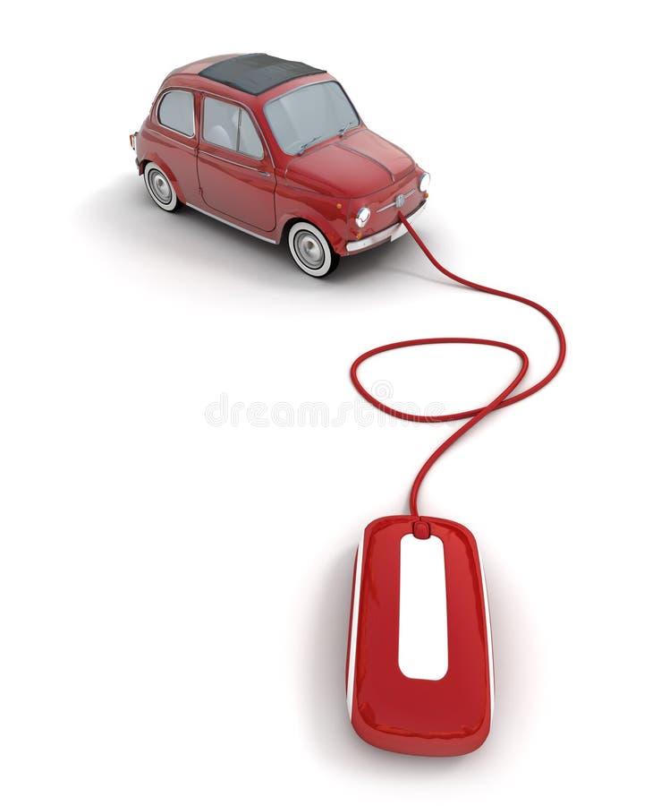 Online red vintage car vector illustration