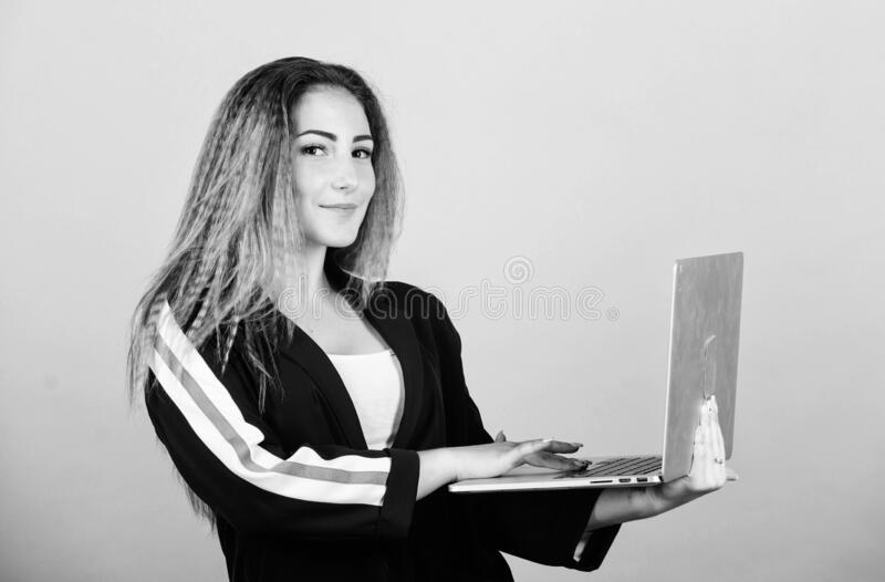Online remote job. Study programming. Blogging concept. Girl with laptop computer. Surfing internet. Social networks and stock photos