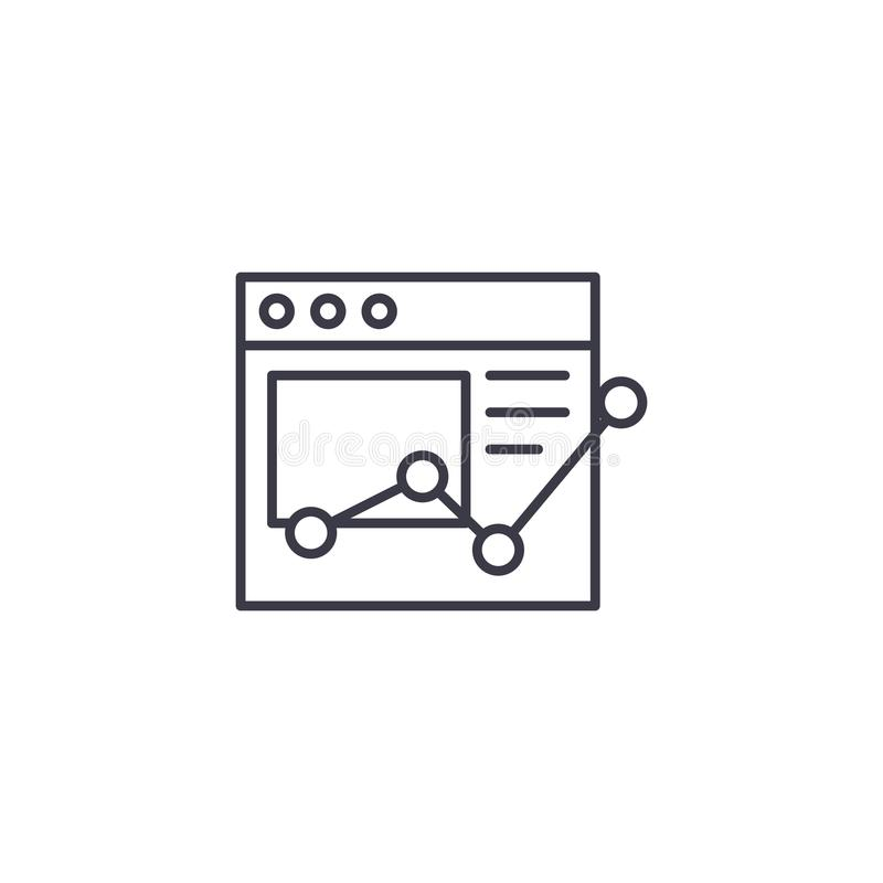 Online report linear icon concept. Online report line vector sign, symbol, illustration. Online report line icon, vector illustration. Online report linear royalty free illustration