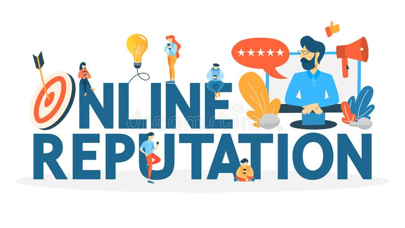 Online reputation concept. Building relationship with people. Online reputation management concept. Building relationship with people and improving customer royalty free illustration