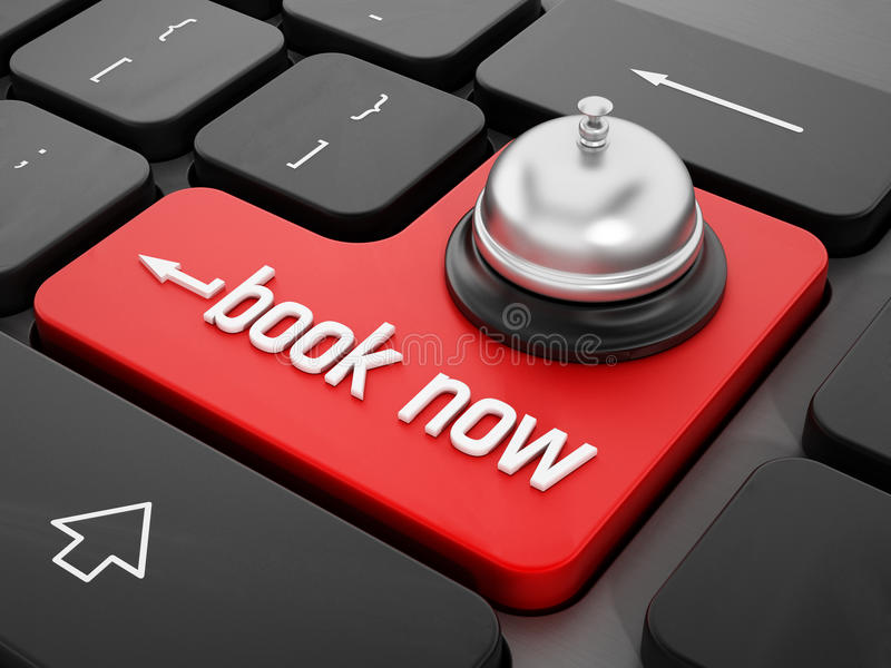Online reservation. Concept with a service bell on red enter key royalty free stock image