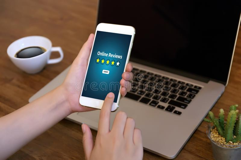 Online Reviews Evaluation time for review Inspection Assessment. Auditing royalty free stock photo