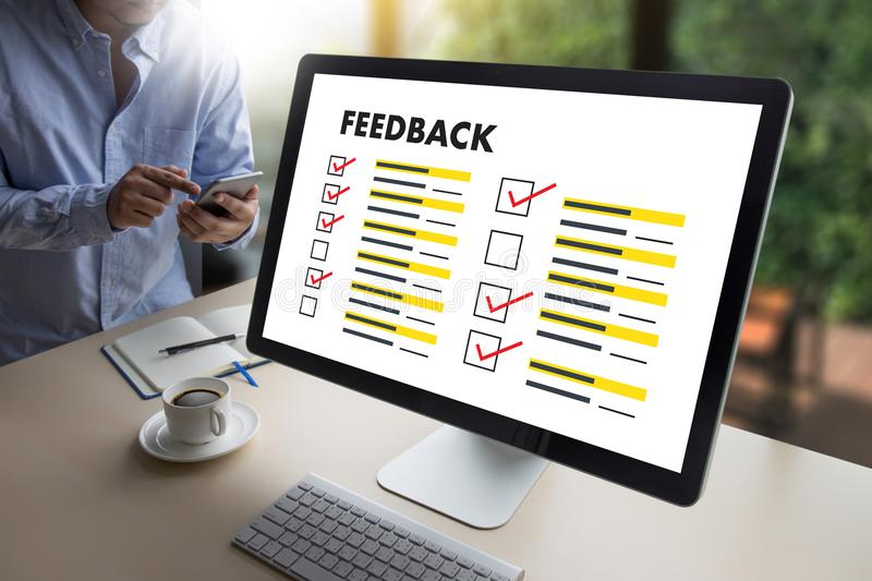 Online Reviews Evaluation time for review Inspection Assessment stock images