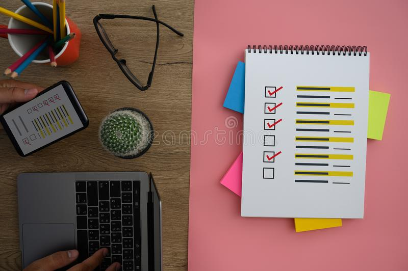 Online Reviews Evaluation time for review Inspection Assessment Auditing. D royalty free stock photo