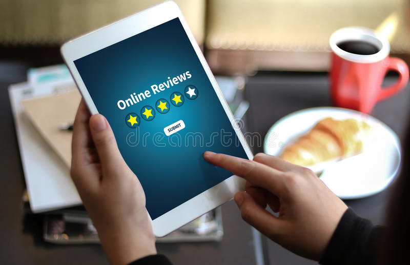 Online Reviews Evaluation time for review Inspection Assessment royalty free stock images