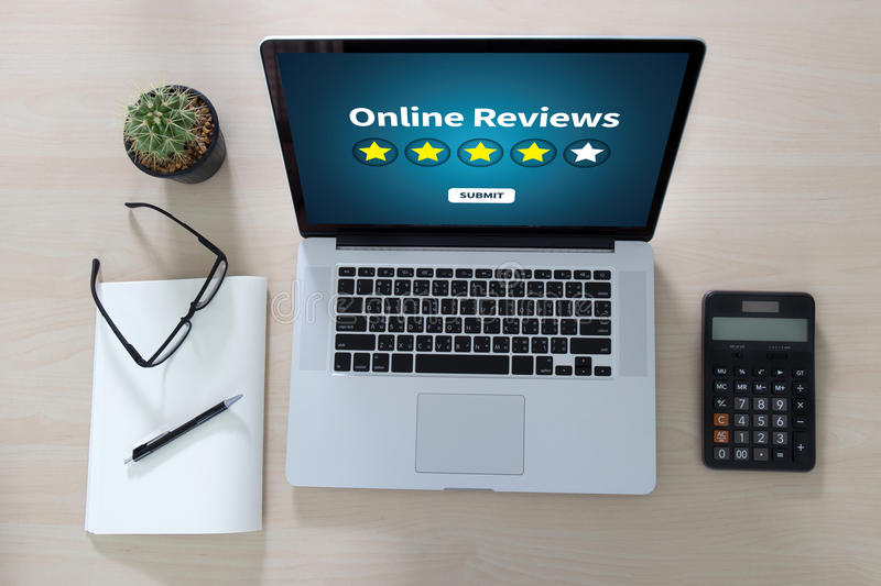 Online Reviews Evaluation time for review Inspection Assessment. Auditing stock image