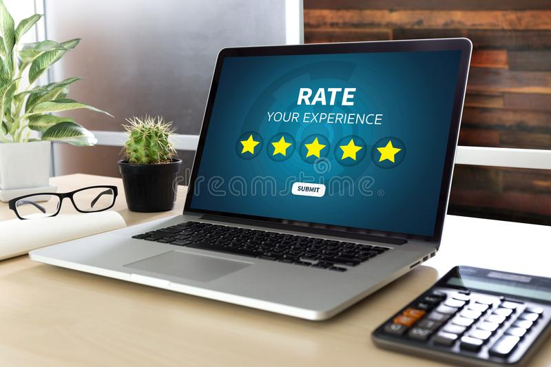 Online Reviews Evaluation time for review Inspection Assessment. Auditing royalty free stock photos