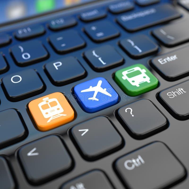 Online rezerwacja bilety pociąg, autobus lub samolot. Laptopu keyboa royalty ilustracja