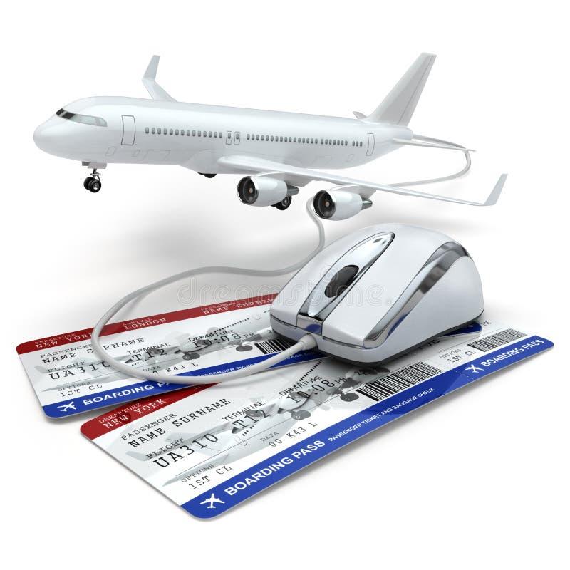 Online rezerwacja lot lub podróży pojęcie Komputerowa mysz, linia lotnicza royalty ilustracja