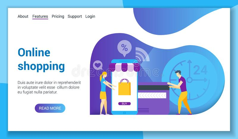 Online robi zakupy lp szablon royalty ilustracja