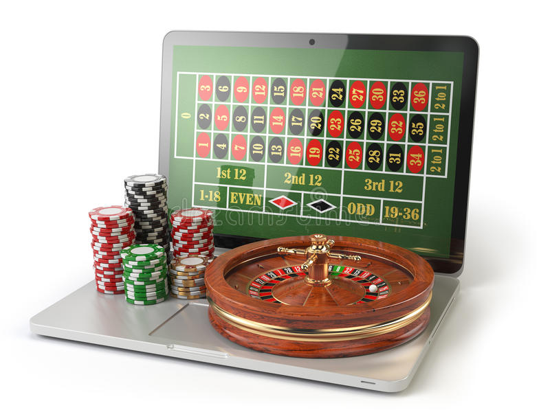 Online roulette casino concept. Laptop with roulette and casino royalty free illustration