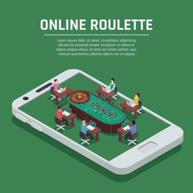 Online Roulette Isometric Smartphone Poster. Online casino gambling advertisement poster with roulette payers at poker table on smartphone screen isometric vector illustration
