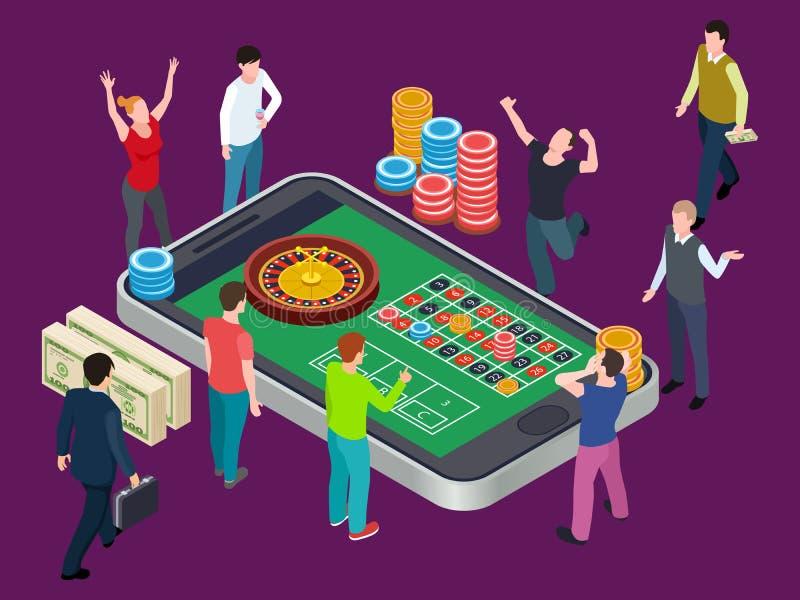 Online-rouletttabell och folk Isometriskt vektorbegrepp för kasino royaltyfri illustrationer