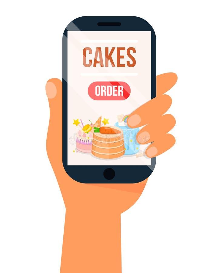 Online rozkaz?w cukierki, torty przez Internetowego App i ilustracja wektor