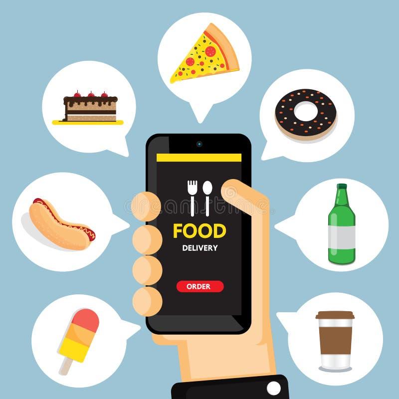 Online rozkazywać i fasta food dostawa royalty ilustracja