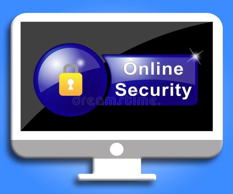 Online-säkerhet visar platsskydd och kryptering vektor illustrationer