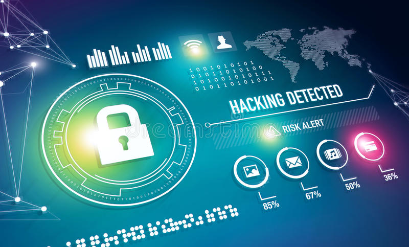 Online-säkerhetsteknologi stock illustrationer