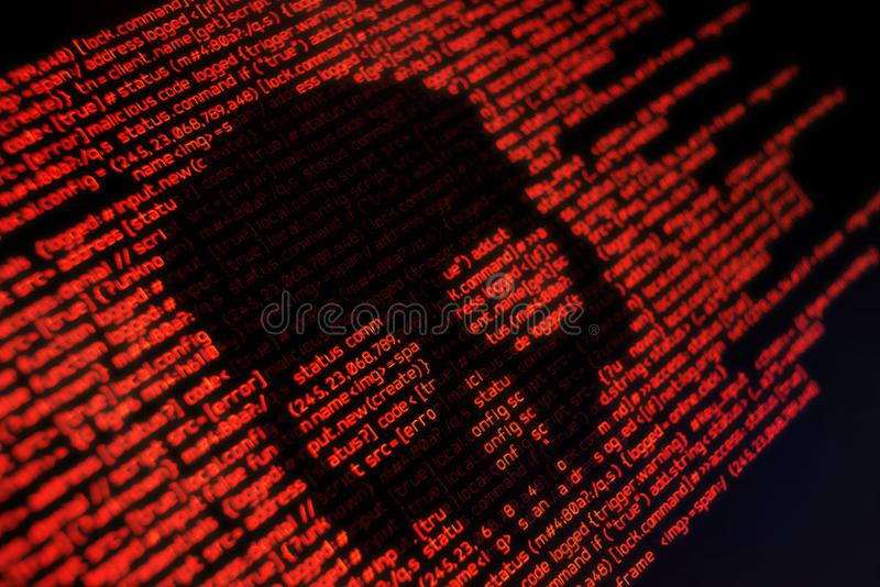 Online safety and security. Computer code and system attacks. Conceptual online security background royalty free stock images