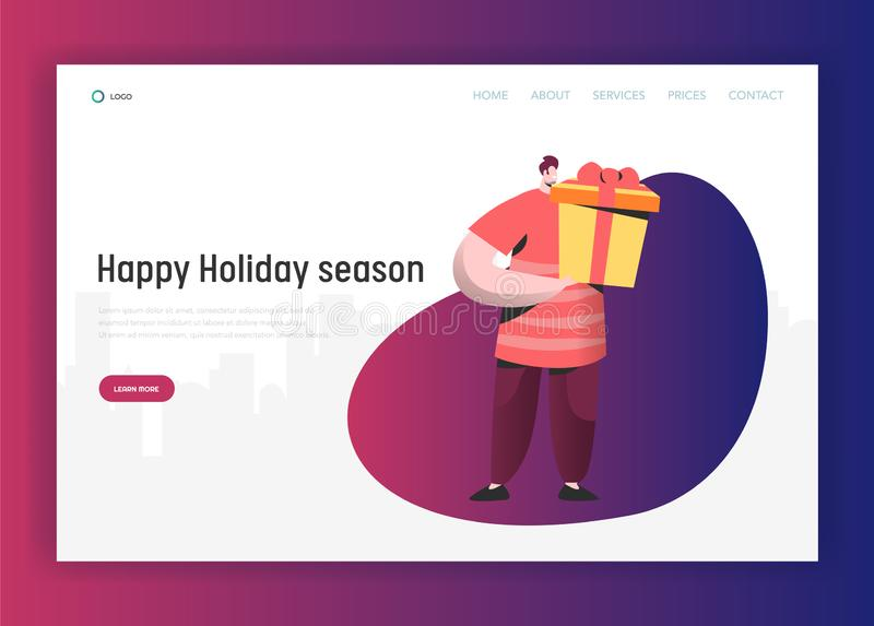 Online Sale Illustration for landing page, Man makes shopping for Holidays, holding gifts. People Character on discount. Online Sale Illustration for landing stock illustration