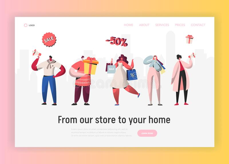 Online Sale Purchases Illustration for landing page, Woman shopping with bags, Man with boxes. People Character discount. Online Sale Purchases Illustration for vector illustration