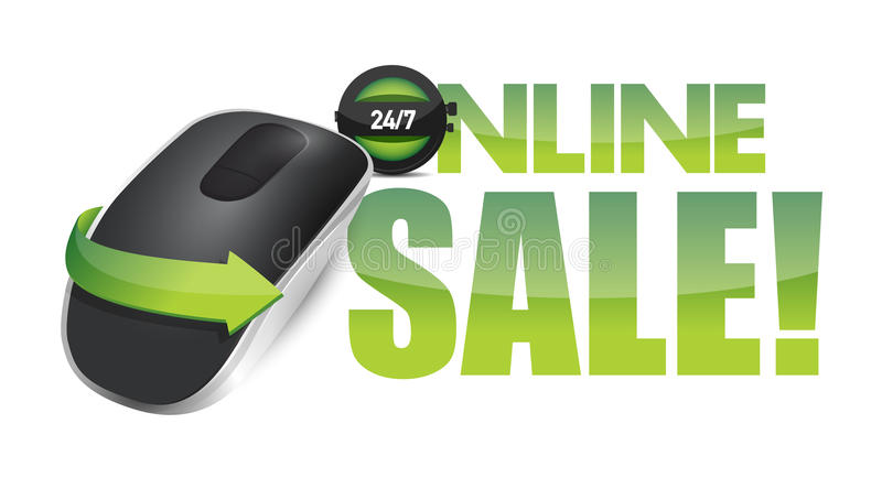 Online sale sign and Wireless computer mouse. Isolated on white background royalty free illustration