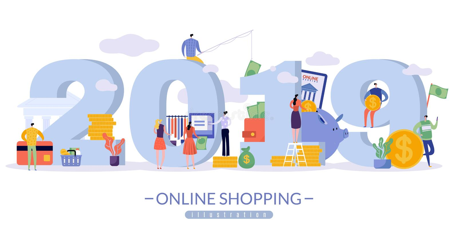 Online sales banner with the image of 2019 in large print royalty free illustration