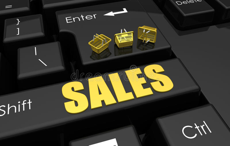 Online sales concept. 3D rendered illustration of online sale concept. The composition makes use of a keyboard in the background and has multiple shopping royalty free illustration