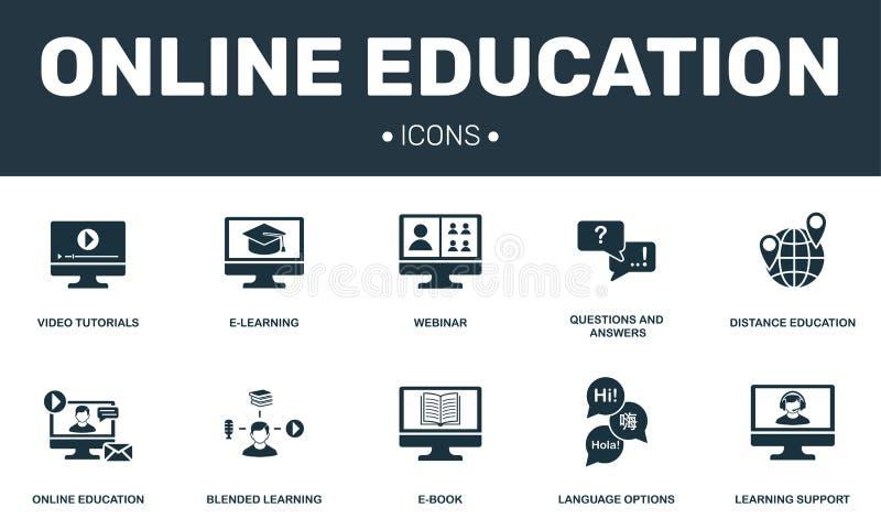 Online-samling för utbildningsuppsättningsymboler Inkluderar enkla beståndsdelar liksom E-att lära, Webinar, EBook, Blended att l stock illustrationer