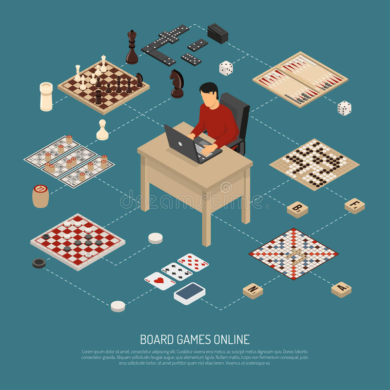 Online-sammansättning för brädelekar stock illustrationer