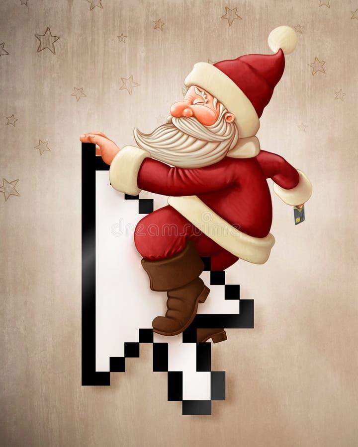 Online Santa Claus en winkelen vector illustratie