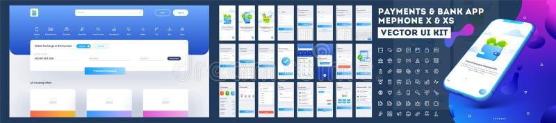 Online-sats för betalning- eller bankrörelseApp UI med websitemenyn vektor illustrationer