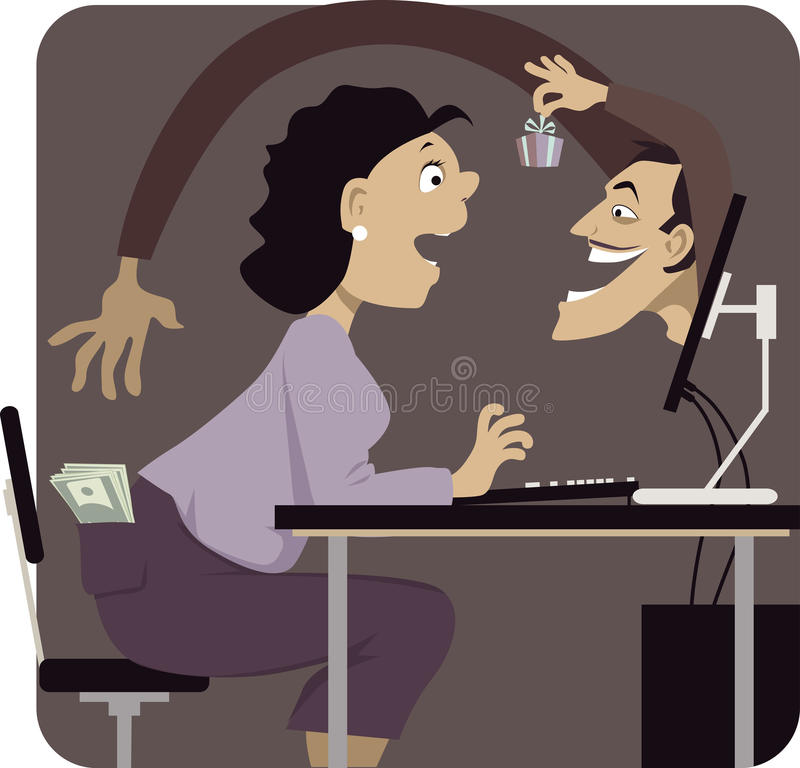 Online scam. Mer reaching to steal money from woman's pocket, distracting her with a gift or a freebie, vector illustration, EPS 8 vector illustration
