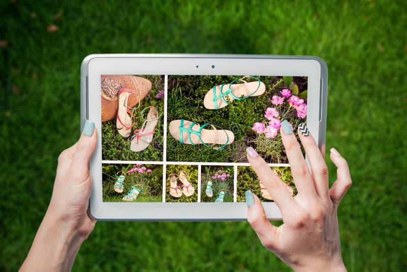 Online schoenopslag, online verkoop stock afbeelding