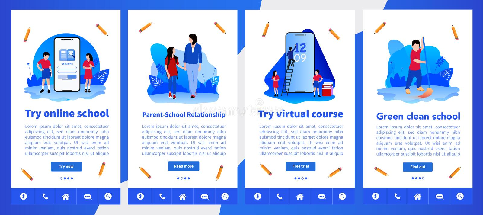 Online school or e-learning simple user interface UX, UI screen template for mobile smart phone or responsive web site. Back to Sc royalty free illustration